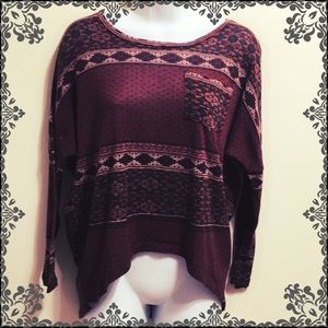 Lily White Loose Fitting Maroon Patterned Top